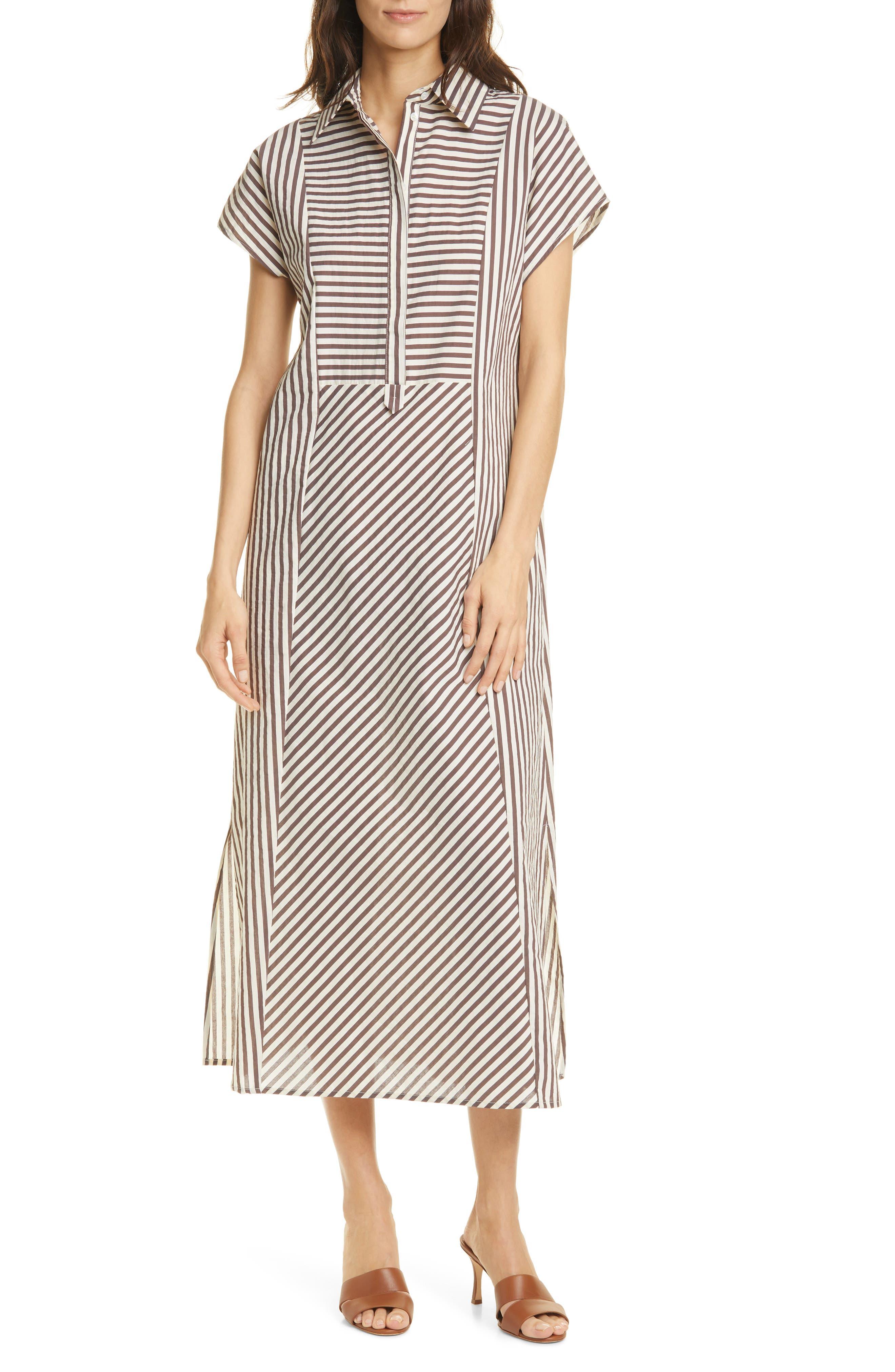 Image of SEVENTY VENEZIA Seventy Striped Popover Midi Dress