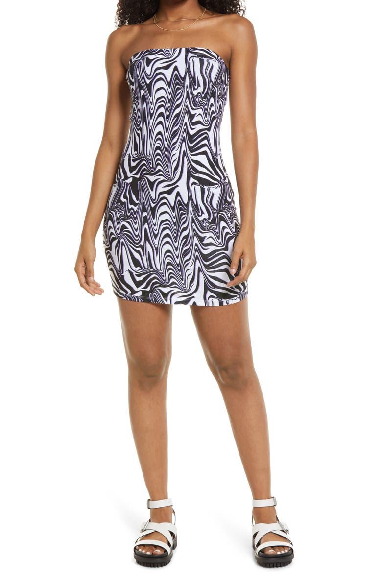 BP. Knit Tube Dress, Main, color, BLACK ZIGGY ANIMAL ABSTRACT