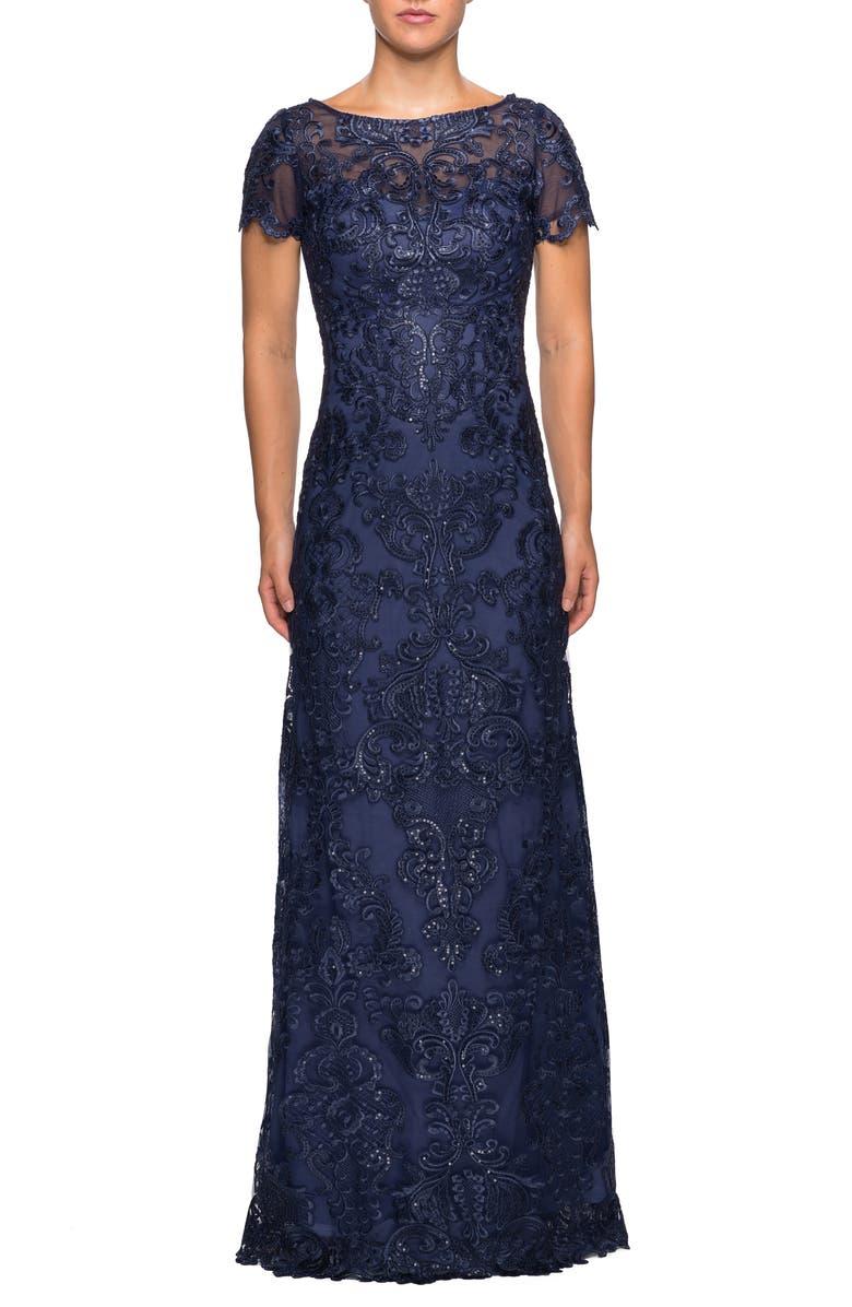 LA FEMME Sequin Embroidered Column Dress, Main, color, NAVY