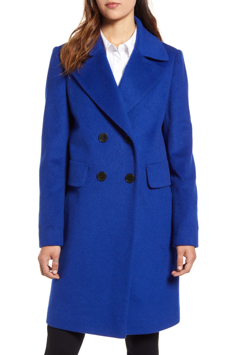 SAM EDELMAN Double Breasted Wool Blend Coat, Main, color, 421