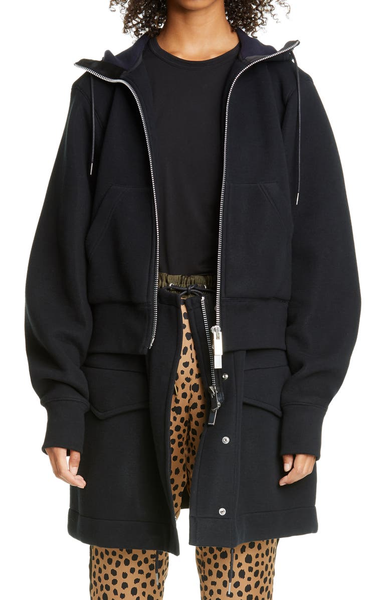 SACAI Layered Sponge Jacket, Main, color, BLACK