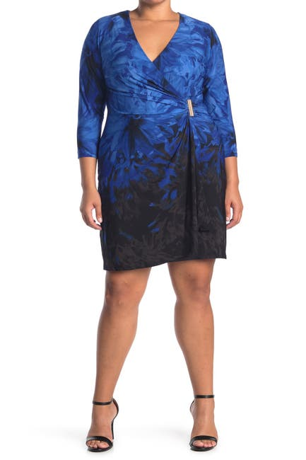 Image of Calvin Klein Surplice Faux Wrap Dress