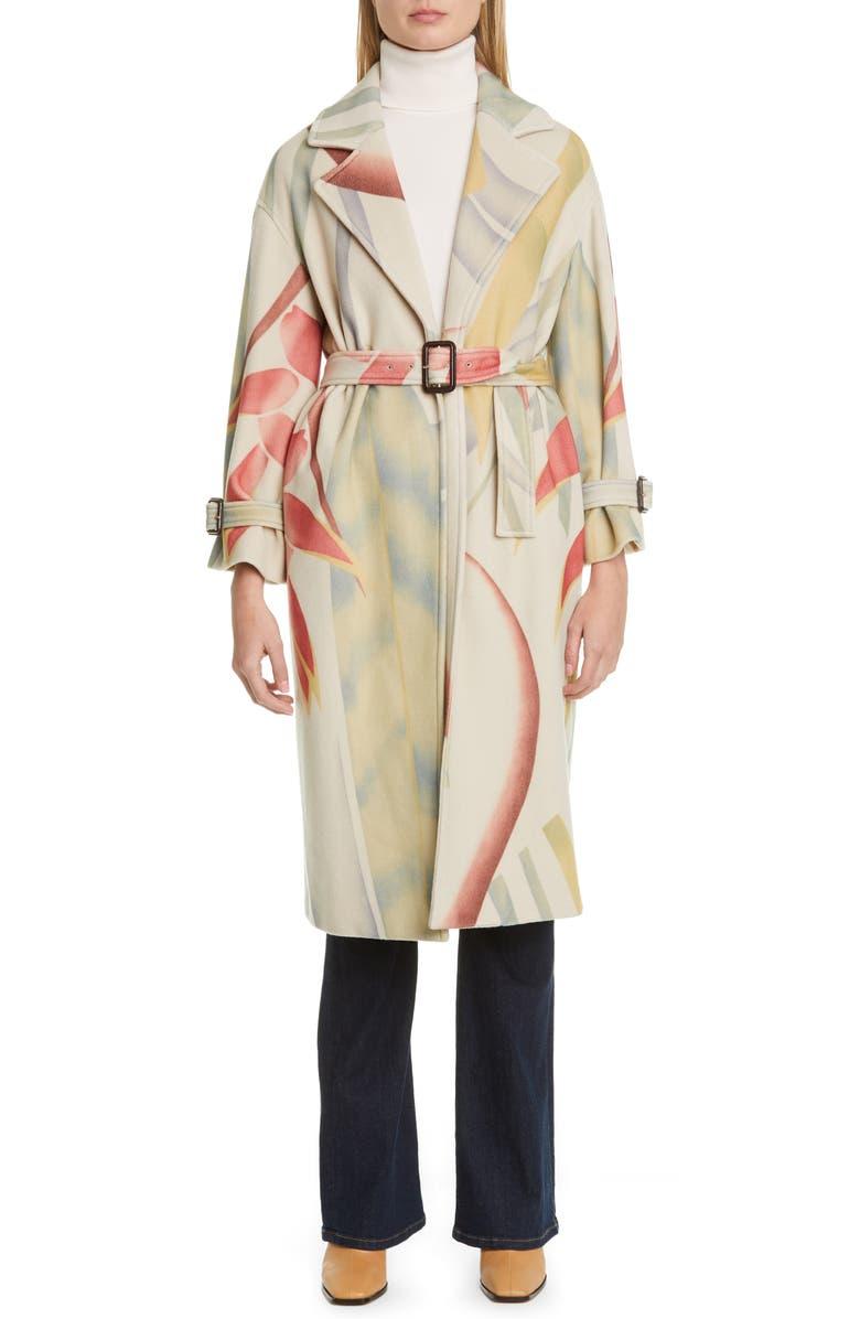 ETRO Leaf Print Wool & Cashmere Coat, Main, color, 100