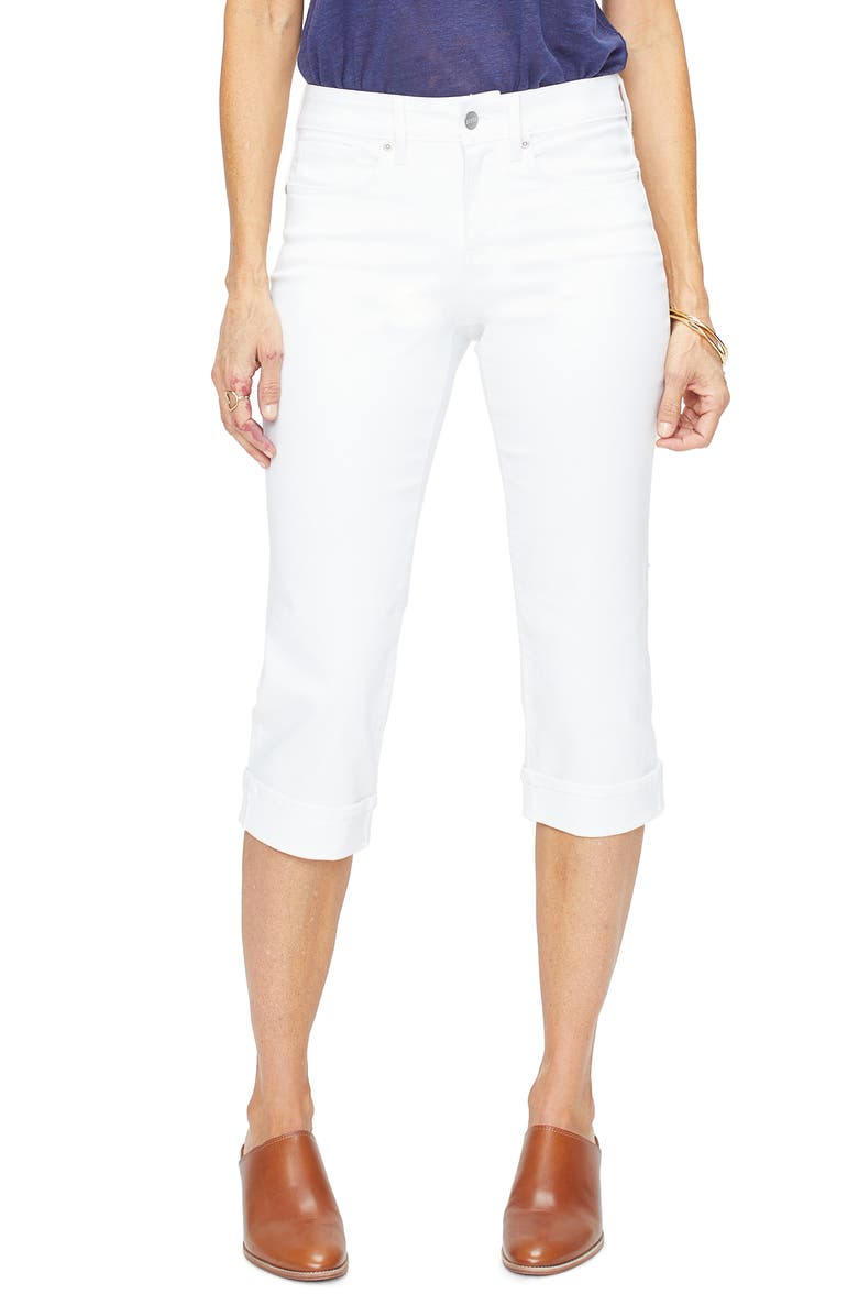 NYDJ Marilyn Straight Leg Capri Jeans, Main, color, OPTIC WHITE