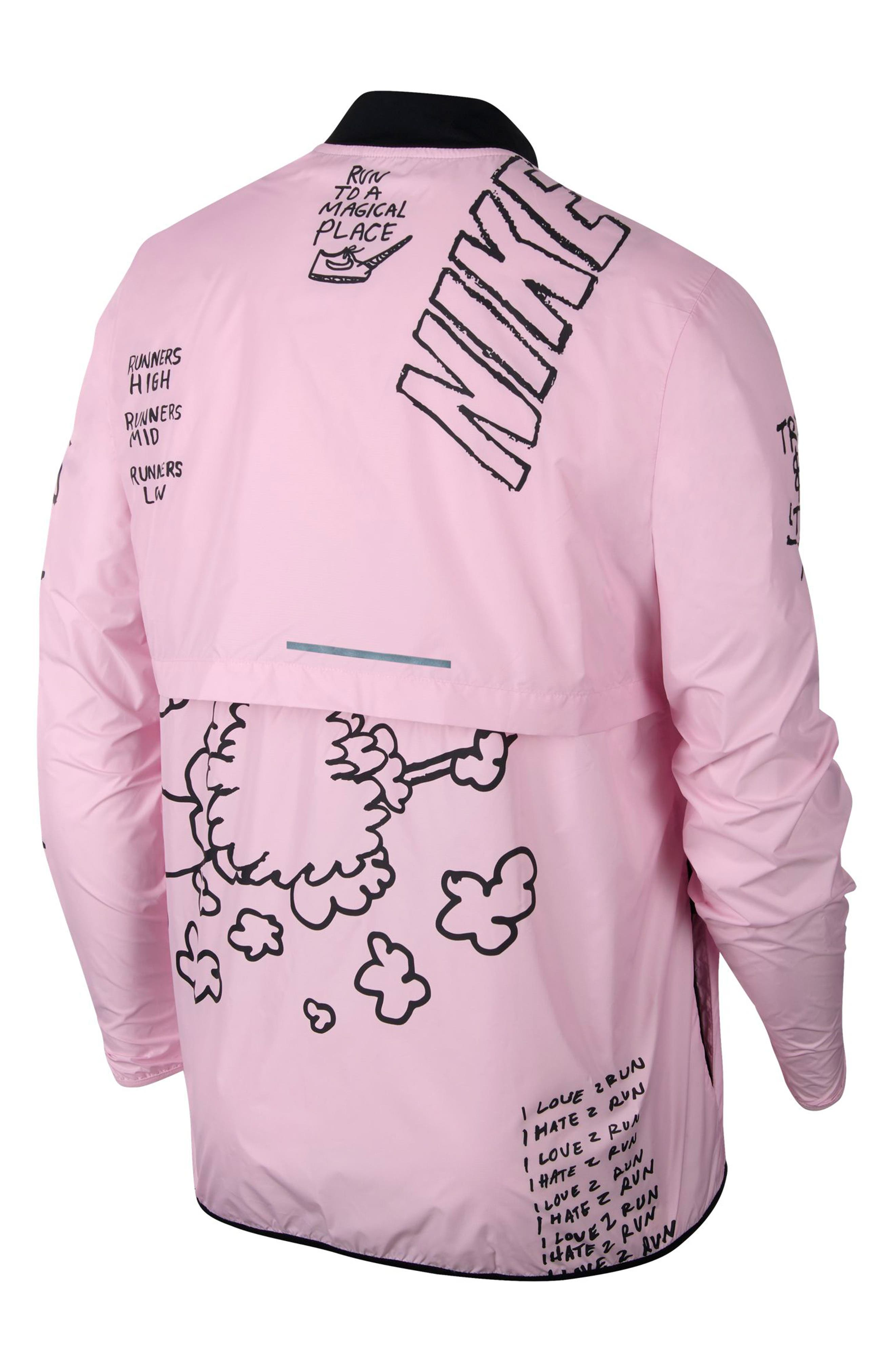 ,                             x Nathan Bell Water Repellent Printed Running Jacket,                             Alternate thumbnail 8, color,                             PINK FOAM