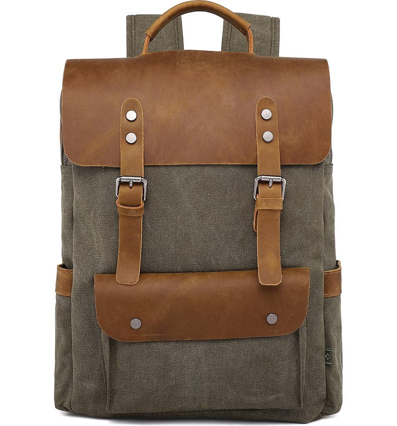 THE SAME DIRECTION Valley Hills Canvas Backpack, Main, color, OLIVE