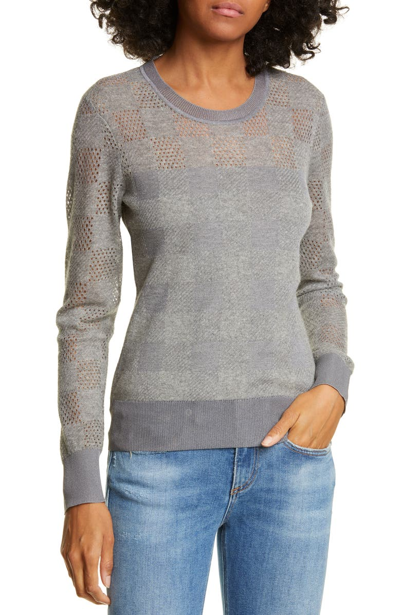 RAG & BONE Buffalo Check Openwork Sweater, Main, color, 020