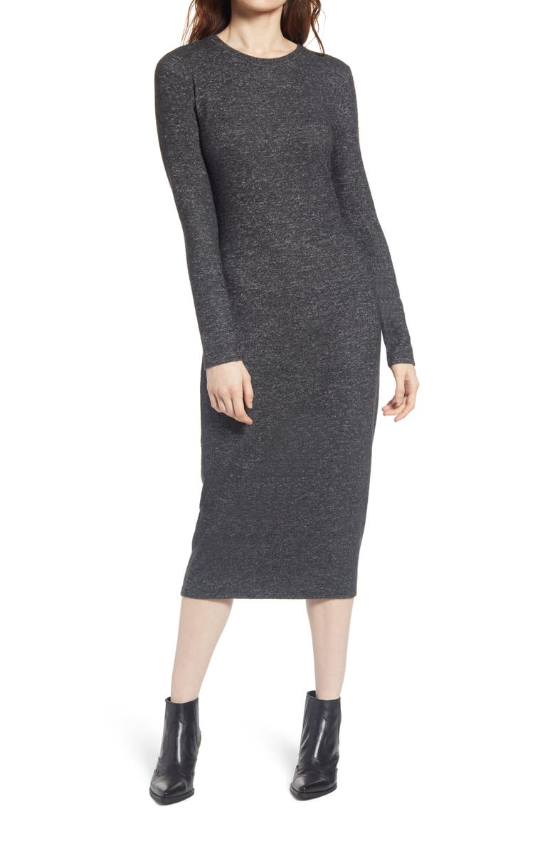 TREASURE & BOND Cozy Long Sleeve Sweater Dress, Main, color, GREY DARK CHARCOAL HEATHER
