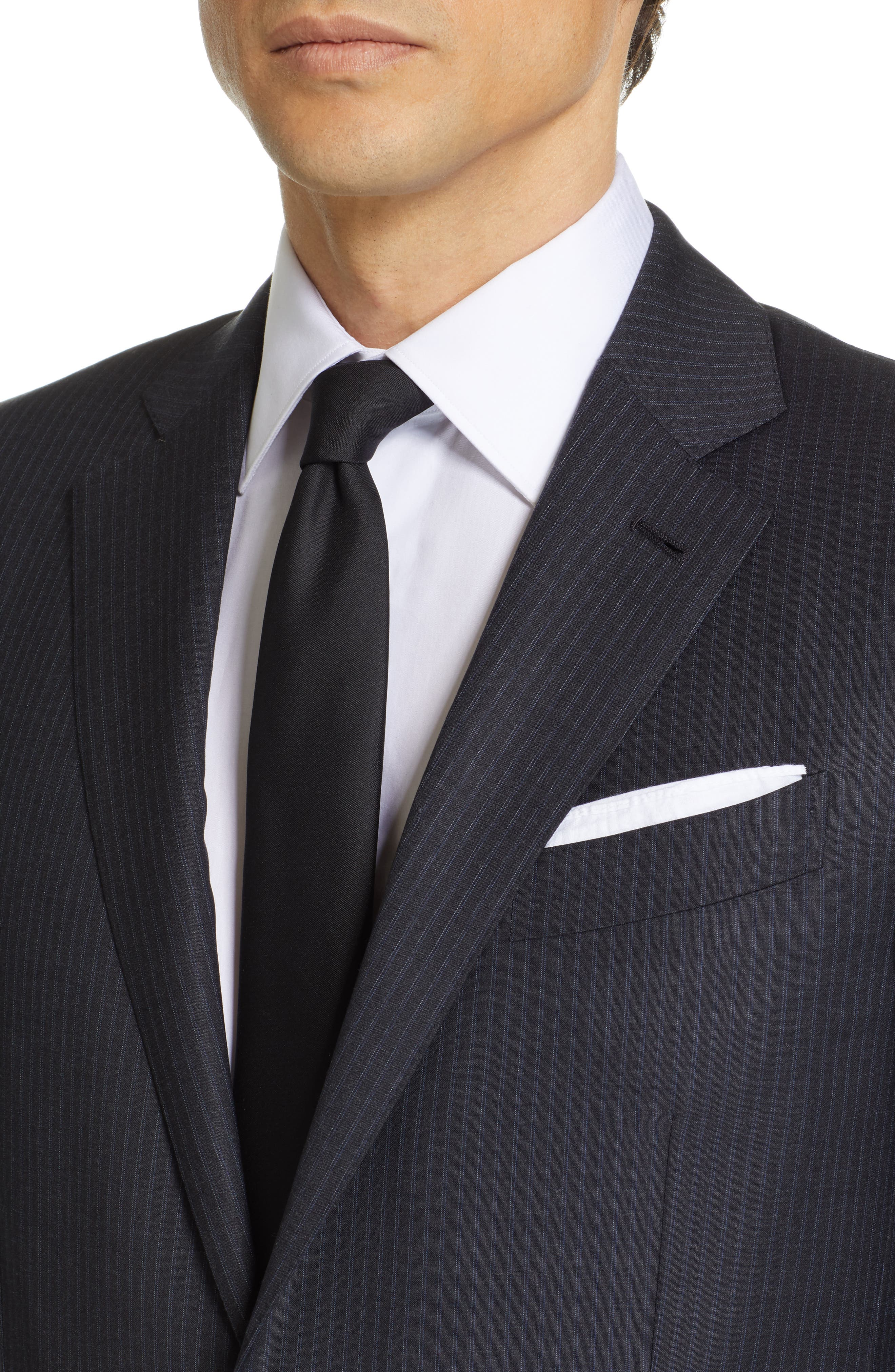 ,                             Milano Classic Fit Stripe Wool Suit,                             Alternate thumbnail 4, color,                             CHARCOAL