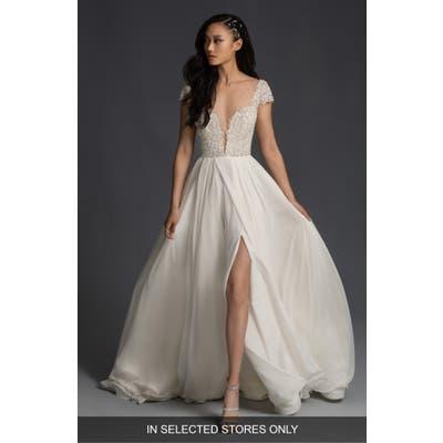 Hayley Paige Finley Beaded Plunge Bodice Wedding Dress, Size - Ivory