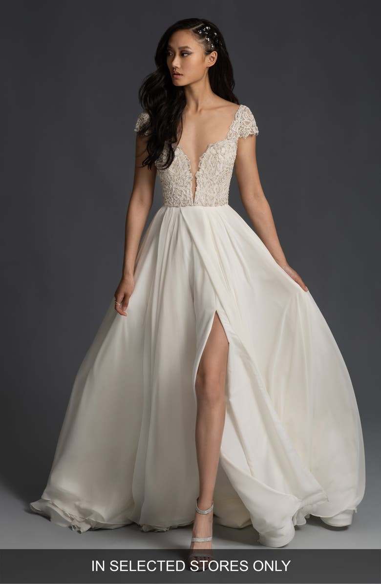 HAYLEY PAIGE Finley Beaded Plunge Bodice Wedding Dress, Main, color, IVORY