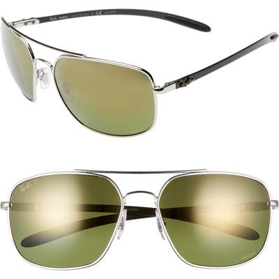 Ray-Ban 62Mm Polarized Square Sunglasses - Silver
