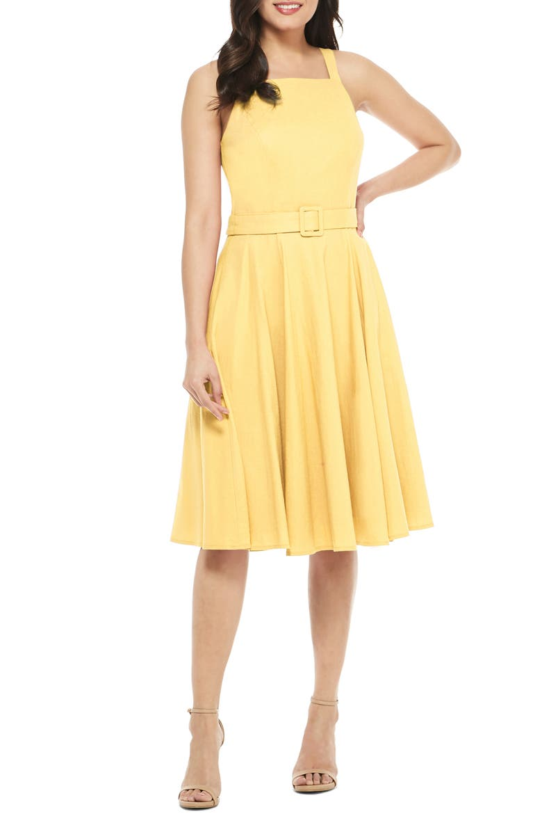 GAL MEETS GLAM COLLECTION Ruth Square Neck Linen Blend Sundress, Main, color, MARIGOLD