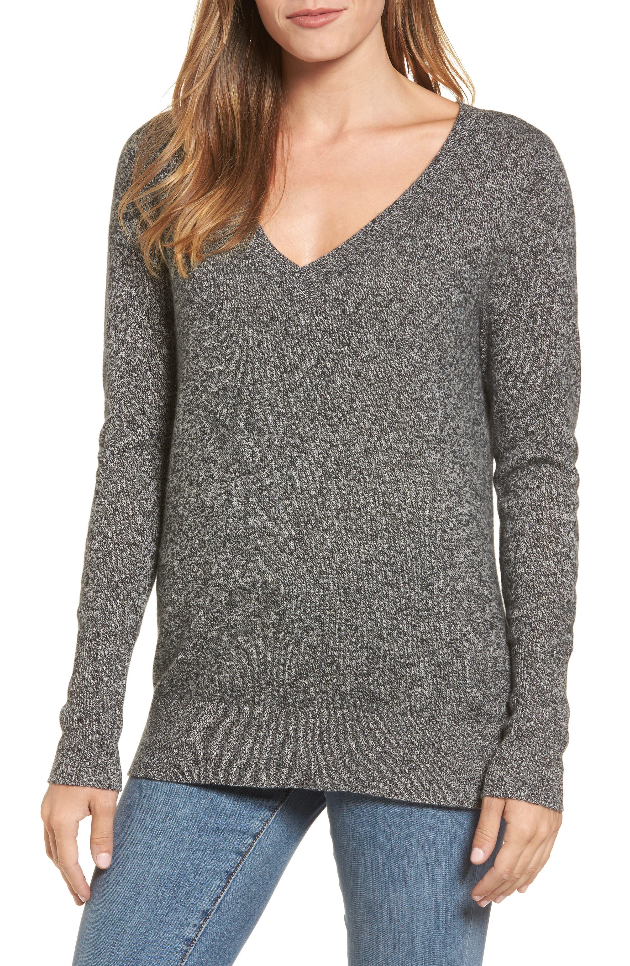 ,                             V-Neck Cashmere Sweater,                             Main thumbnail 13, color,                             004
