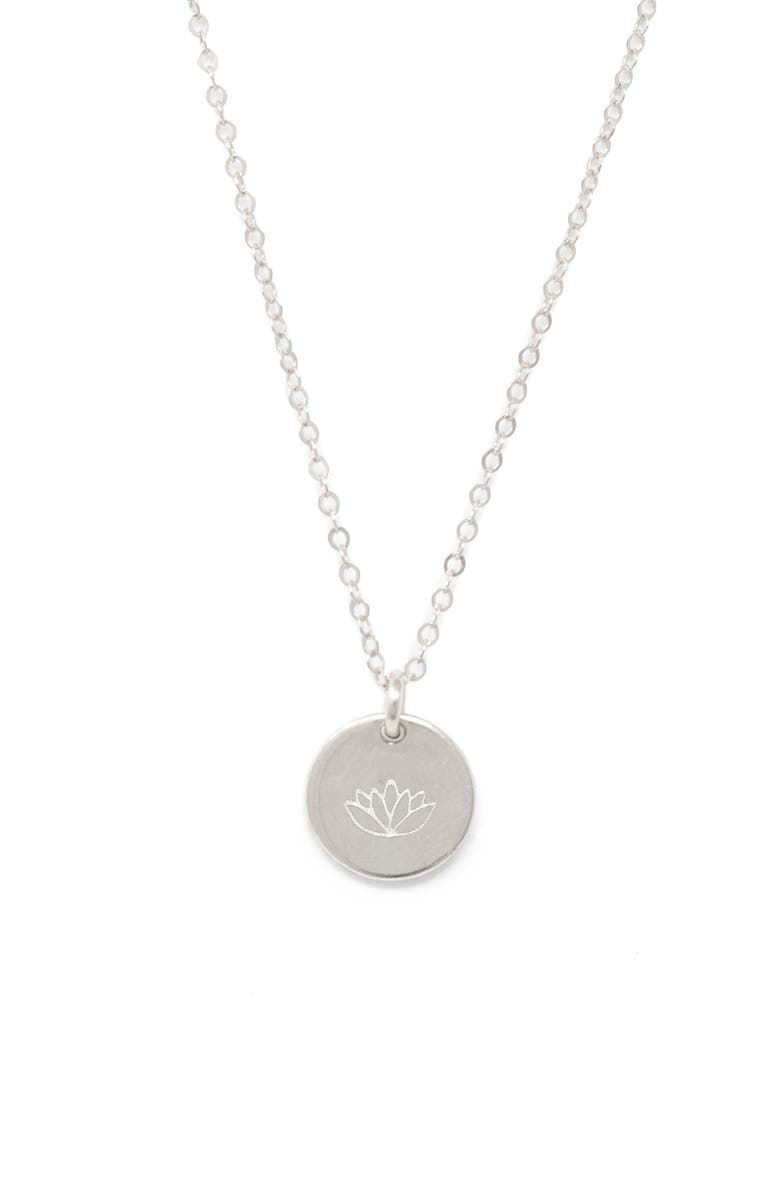 ABLE Lotus Mini Tag Pendant Necklace, Main, color, SILVER