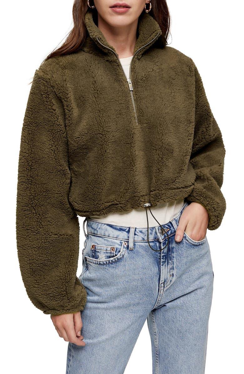 TOPSHOP High Pile Fleece Quarter Zip Pullover, Main, color, OLIVE