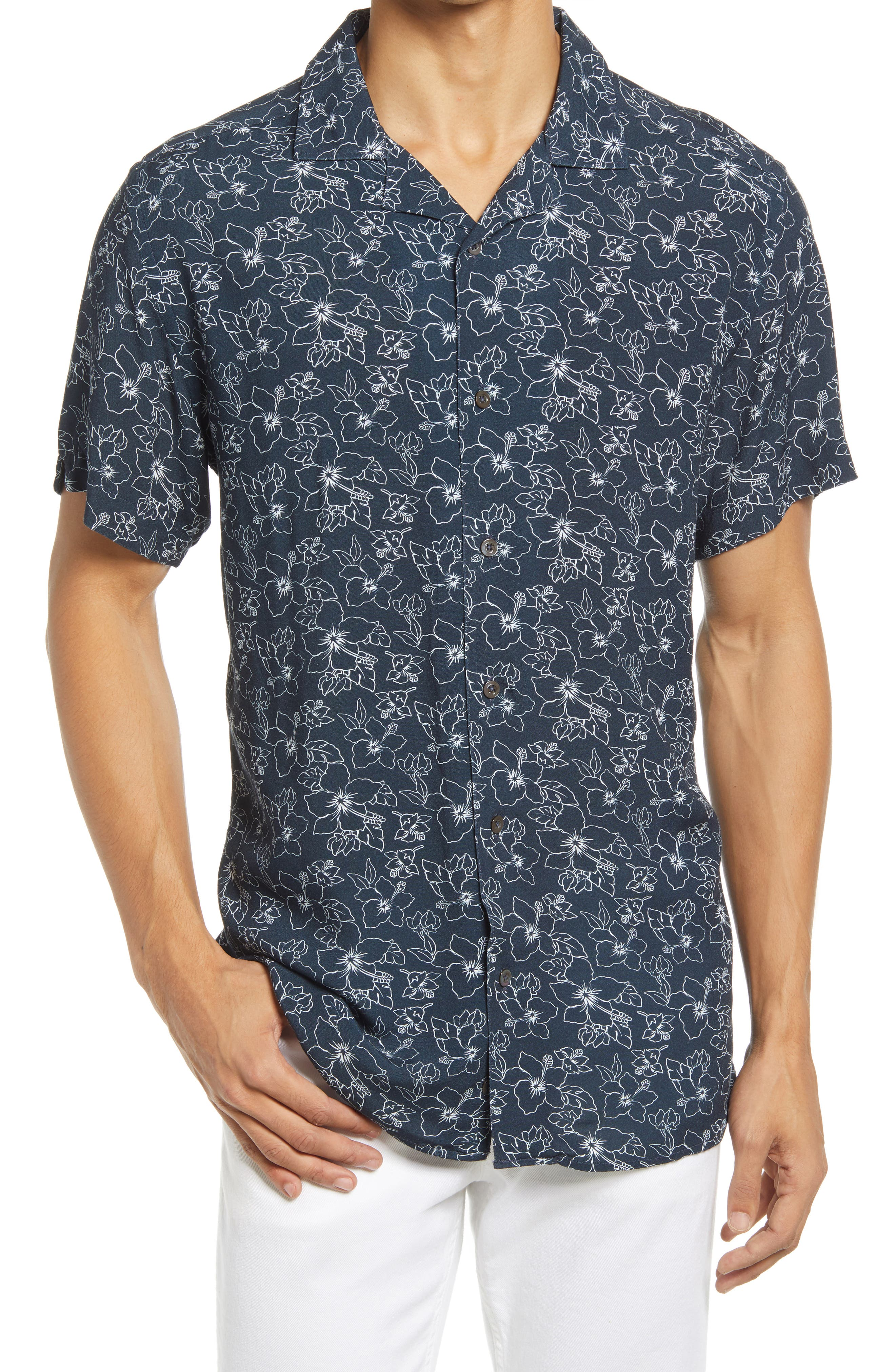 Floral Short Sleeve Button-Up Camp Shirt
