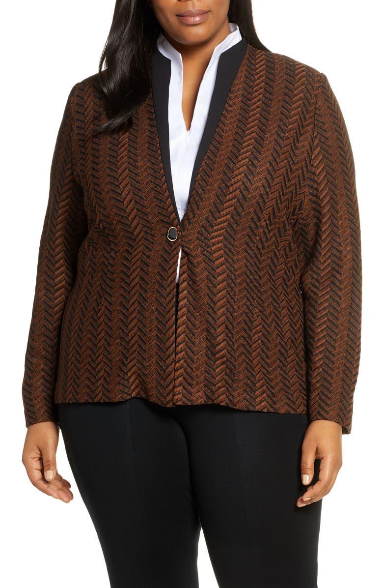 MING WANG Collarless Knit Jacket, Main, color, 202