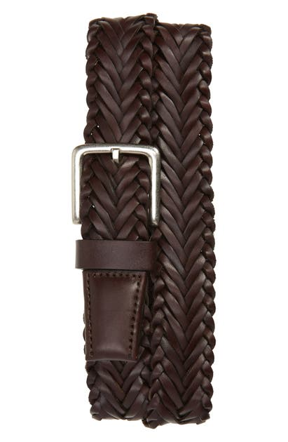 Cole Haan Braided Leather Belt In Java
