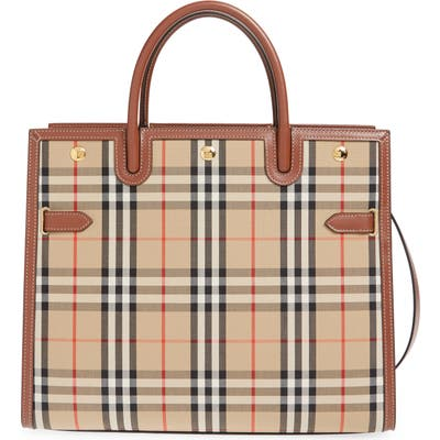 Burberry Large Title Leather & Canvas Bag - Beige