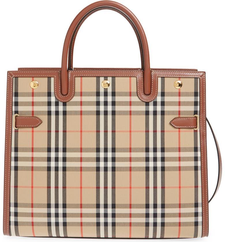 BURBERRY Large Title Leather & Canvas Bag, Main, color, ARCHIVE BEIGE