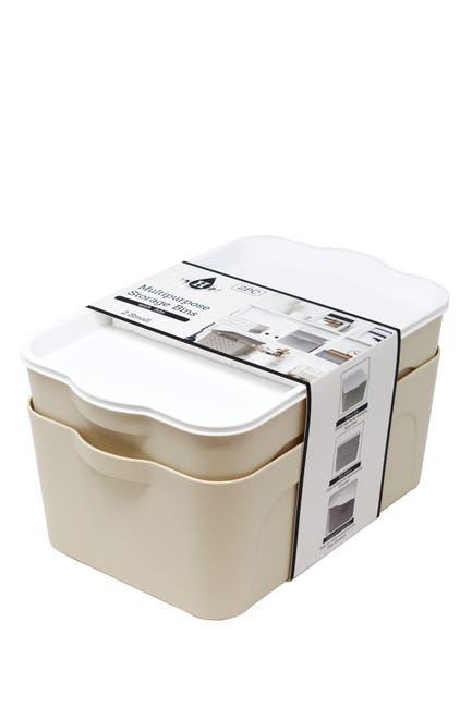 Image of Gourmet Home Heritage Cream Small Multipurpose Storage Bins - Set of 2