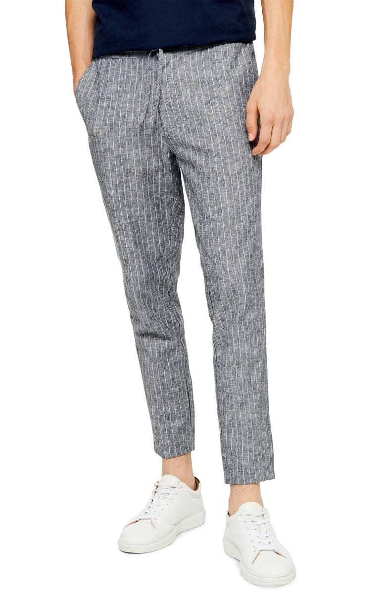 TOPMAN Skinny Fit Stripe Cropped Pants, Main, color, NAVY BLUE