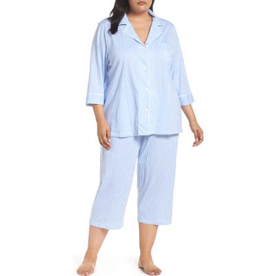 Plus Size Lauren Ralph Lauren Knit Crop Pajamas, Blue (Plus Size) (Online Only)