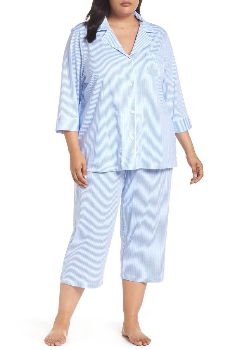 LAUREN RALPH LAUREN Knit Crop Pajamas, Main, color, CARISSA BLUE/ WHITE STRIPE