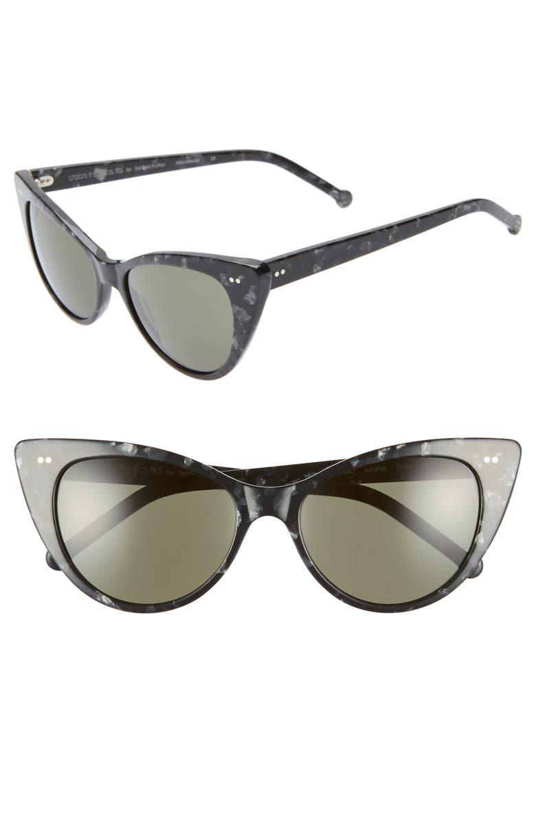 COLORS IN OPTICS Audrey 54mm Cat Eye Sunglasses, Main, color, BLACK/ MULTI