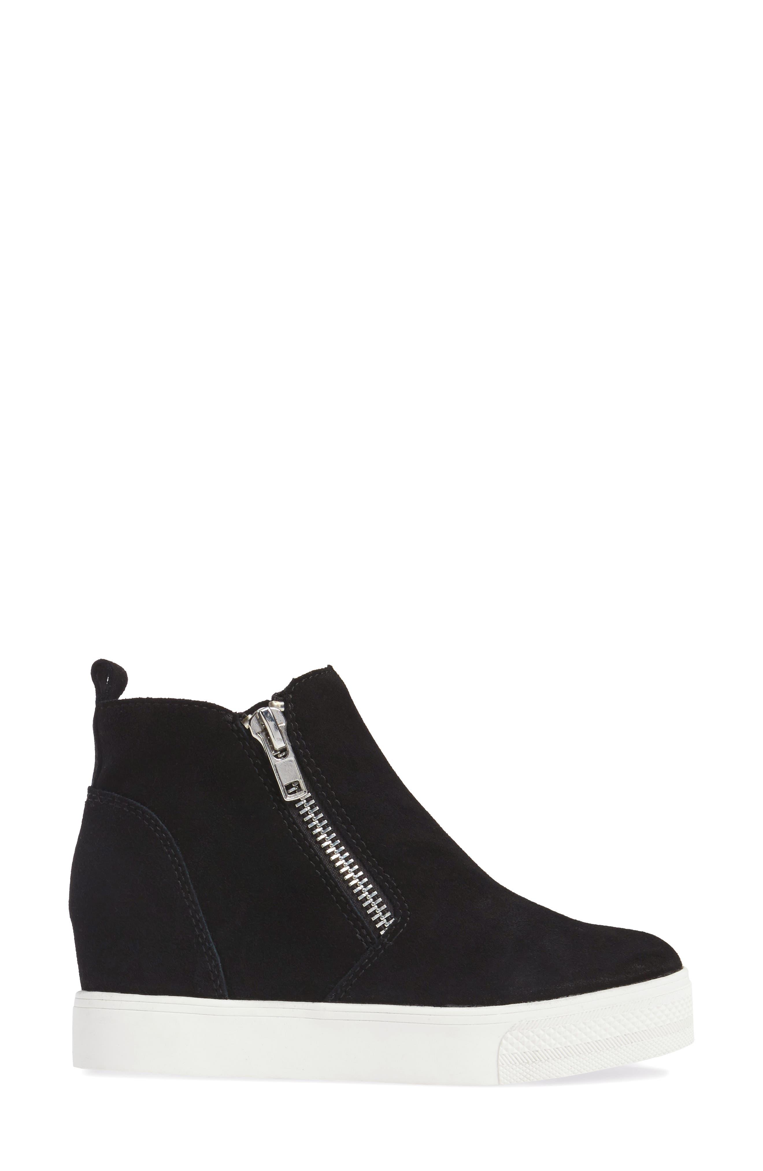 ,                             Wedgie High Top Platform Sneaker,                             Alternate thumbnail 3, color,                             BLACK SUEDE