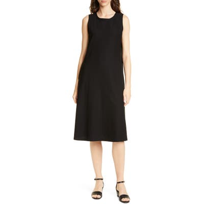 Petite Eileen Fisher Sleeveless Swing Dress, Black