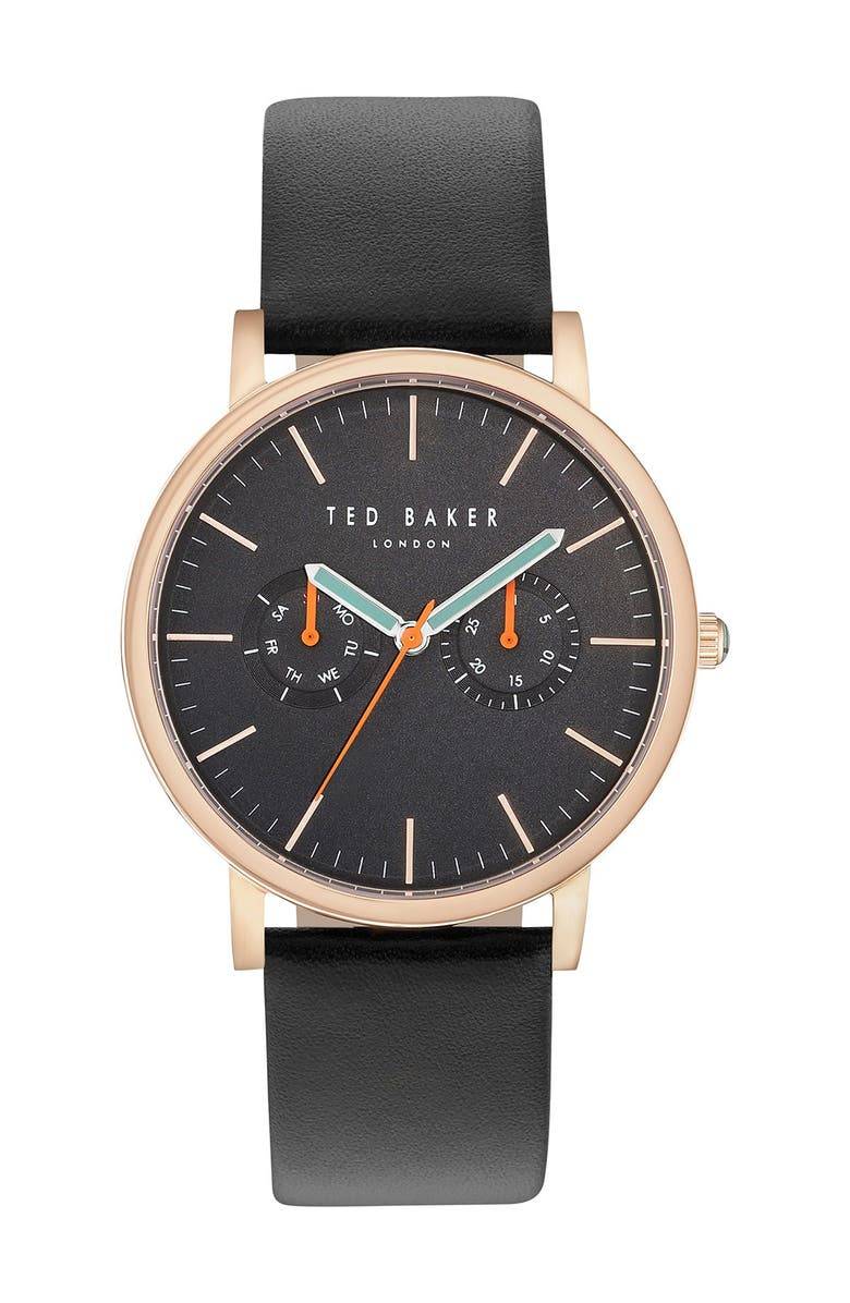 TED BAKER LONDON Brit Round Watch Three-Strap Gift Set, 40mm, Main, color, 000