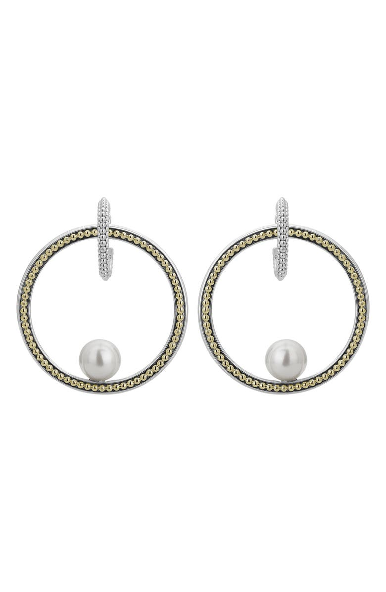 LAGOS Luna Pearl Caviar Frontal Hoop Earrings, Main, color, SILVER