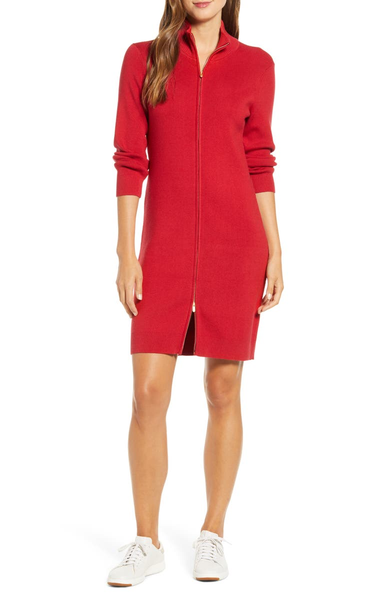 TOMMY BAHAMA Pickford Rib Full Zip Sweater Dress, Main, color, JESTER RED