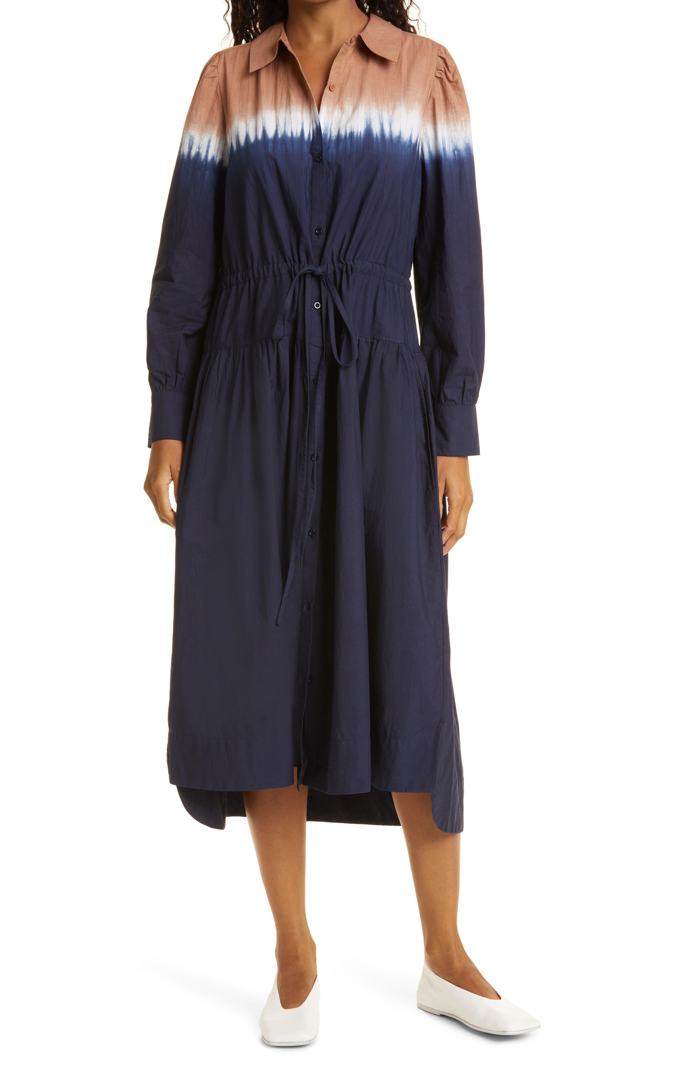 Women's Zabeta Dip Dye Long Sleeve Organic Cotton Shirtdress