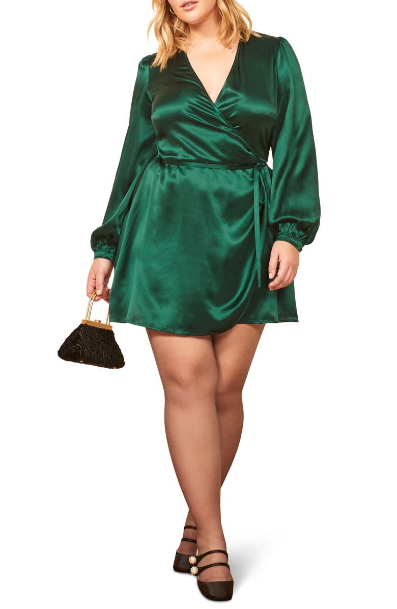 REFORMATION Starlight Long Sleeve Silk Wrap Dress, Main, color, EMERALD