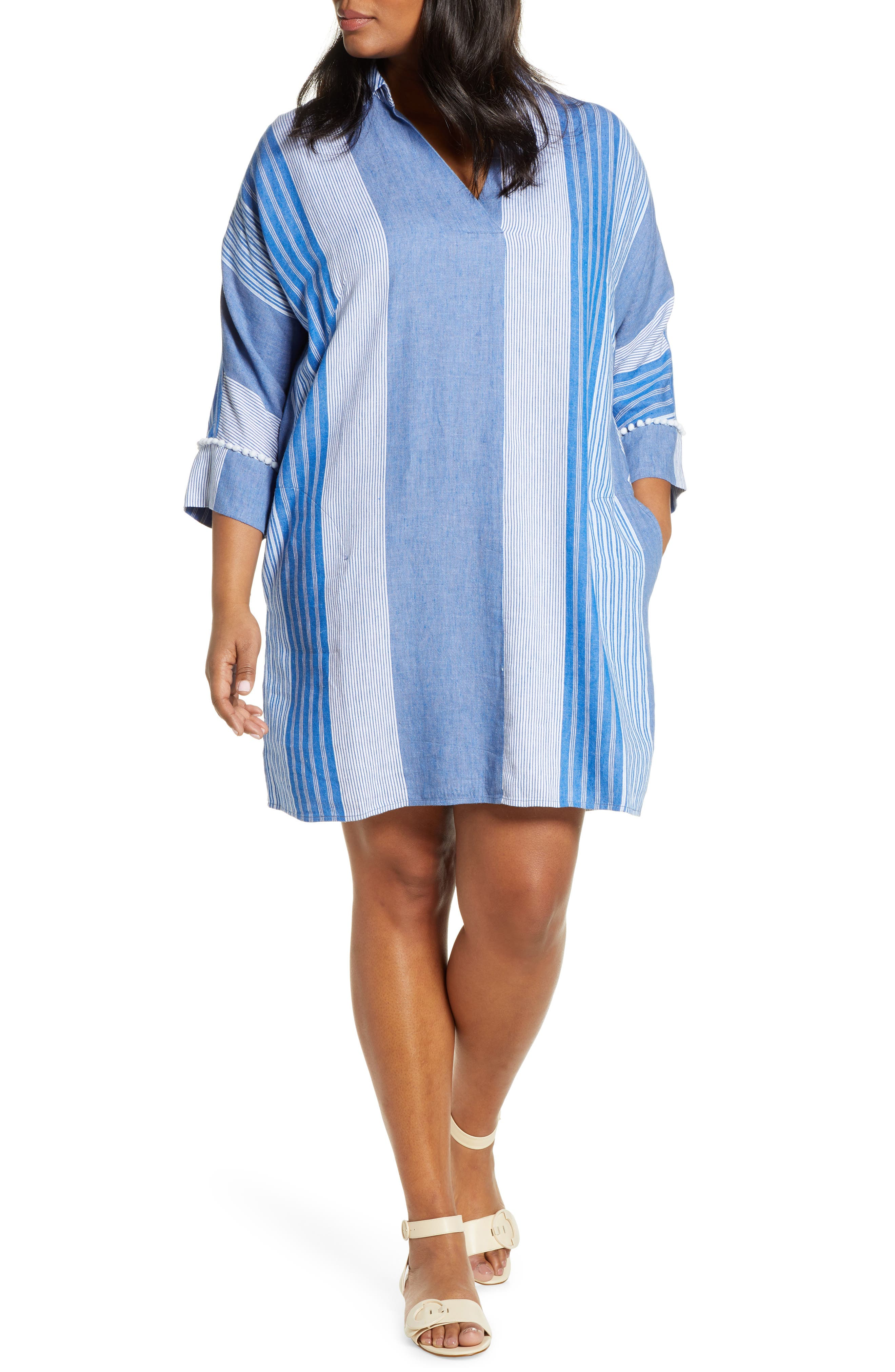 Plus Size Nic+Zoe Fiji Stripe Linen Blend Tunic Dress, Blue