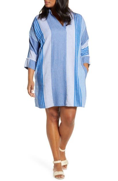 Nic + Zoe FIJI STRIPE LINEN BLEND TUNIC DRESS