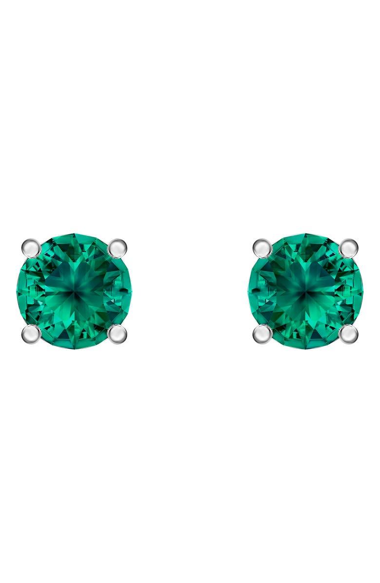 SWAROVSKI Attract Crystal Stud Earrings, Main, color, CZ EMERALD