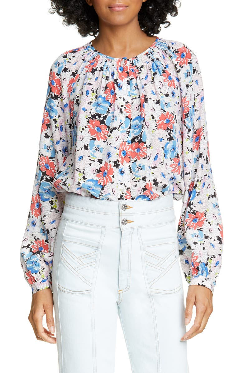 VERONICA BEARD Madge Floral Silk Top, Main, color, FLORAL MULTI