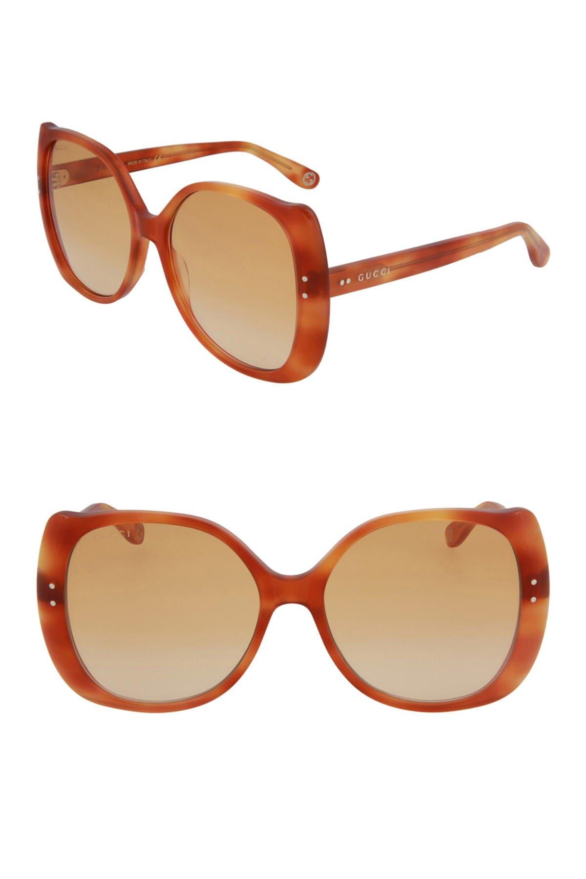 Gucci 56mm Core Square Sunglasses In Brown