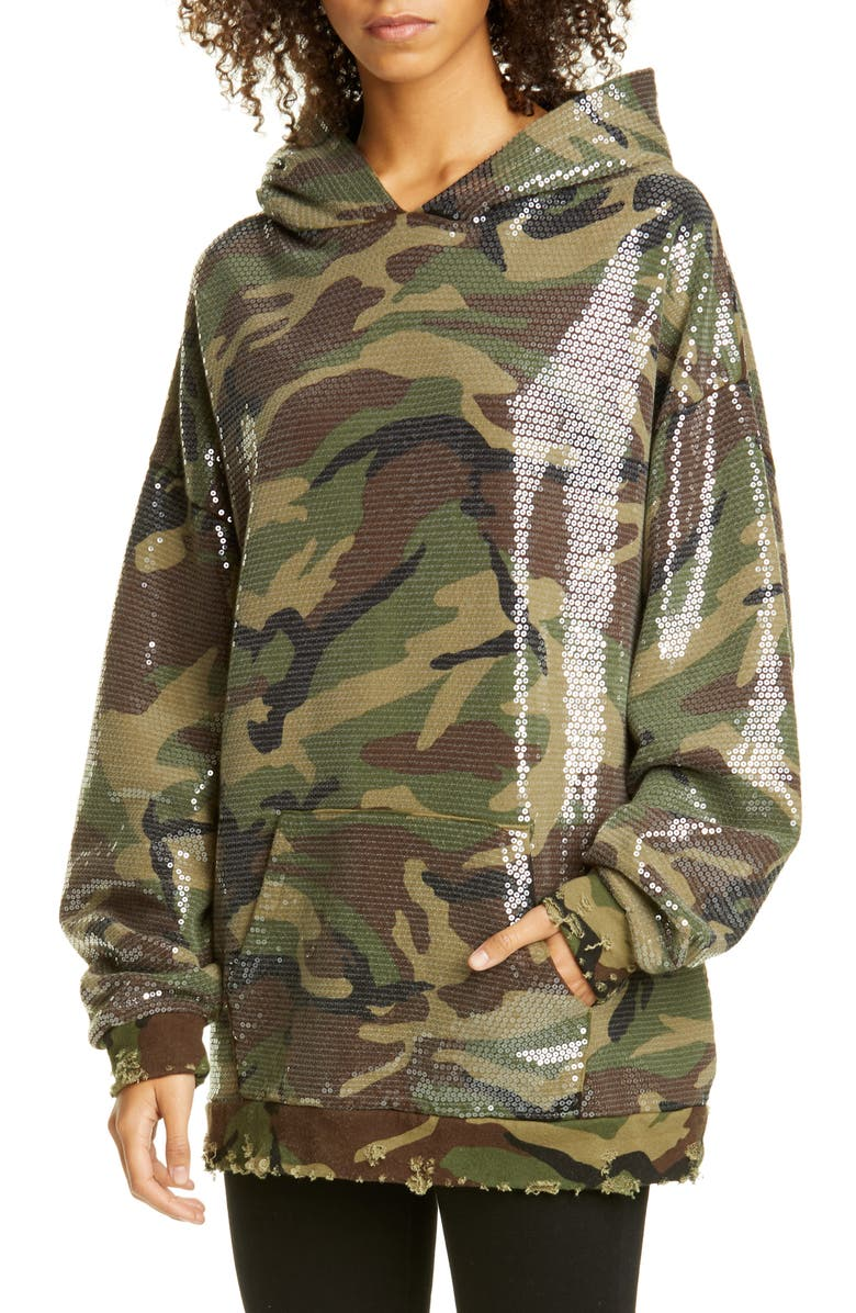R13 Sequin Camo Print Hoodie, Main, color, CAMO SEQUIN