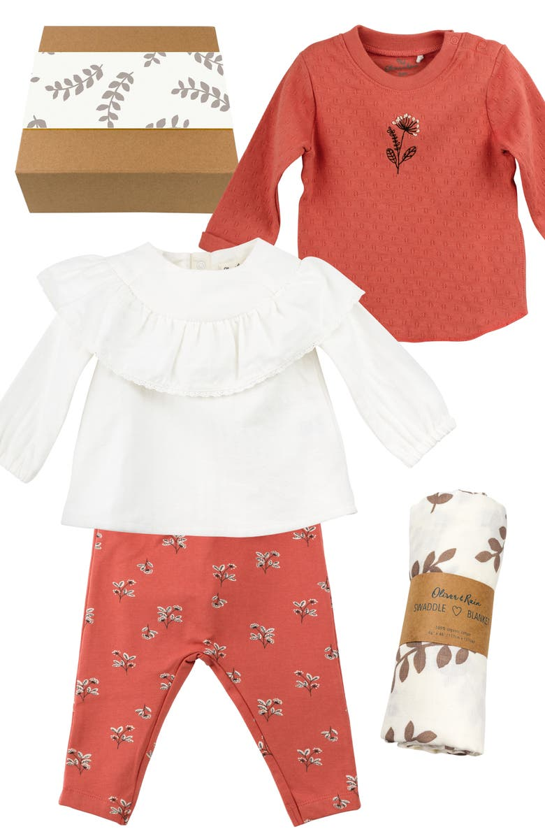 OLIVER & RAIN Fawn & Fern 4-Piece Cotton Clothing & Accessories Gift Set, Main, color, APRICOT