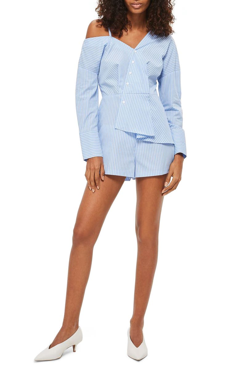 TOPSHOP Asymmetrical Stripe Poplin Romper, Main, color, 400
