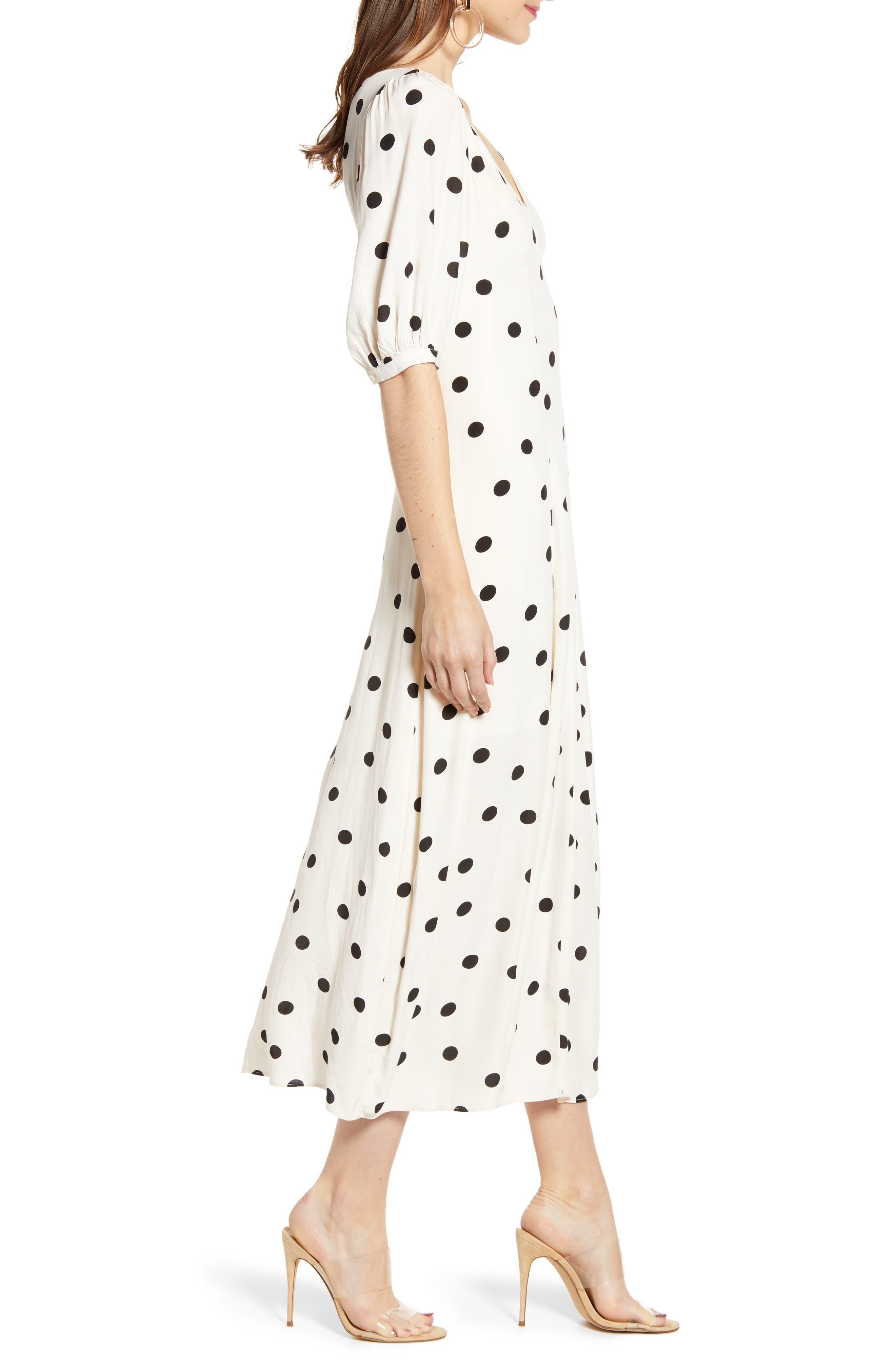 ,                             Print Dress,                             Alternate thumbnail 5, color,                             BEIGE ECRU DOT