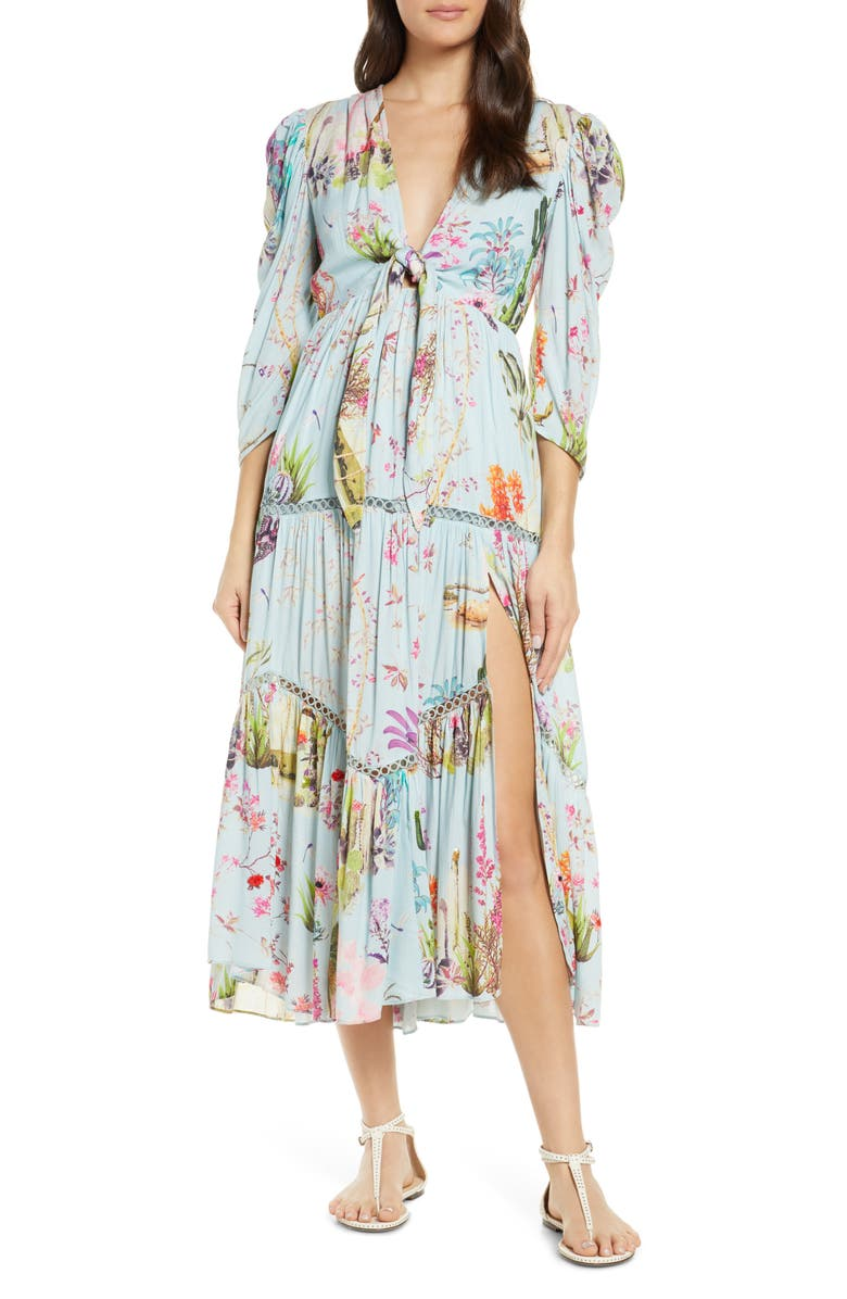 HEMANT & NANDITA Crinkle Rayon Cover-Up Dress, Main, color, POWDER BLUE