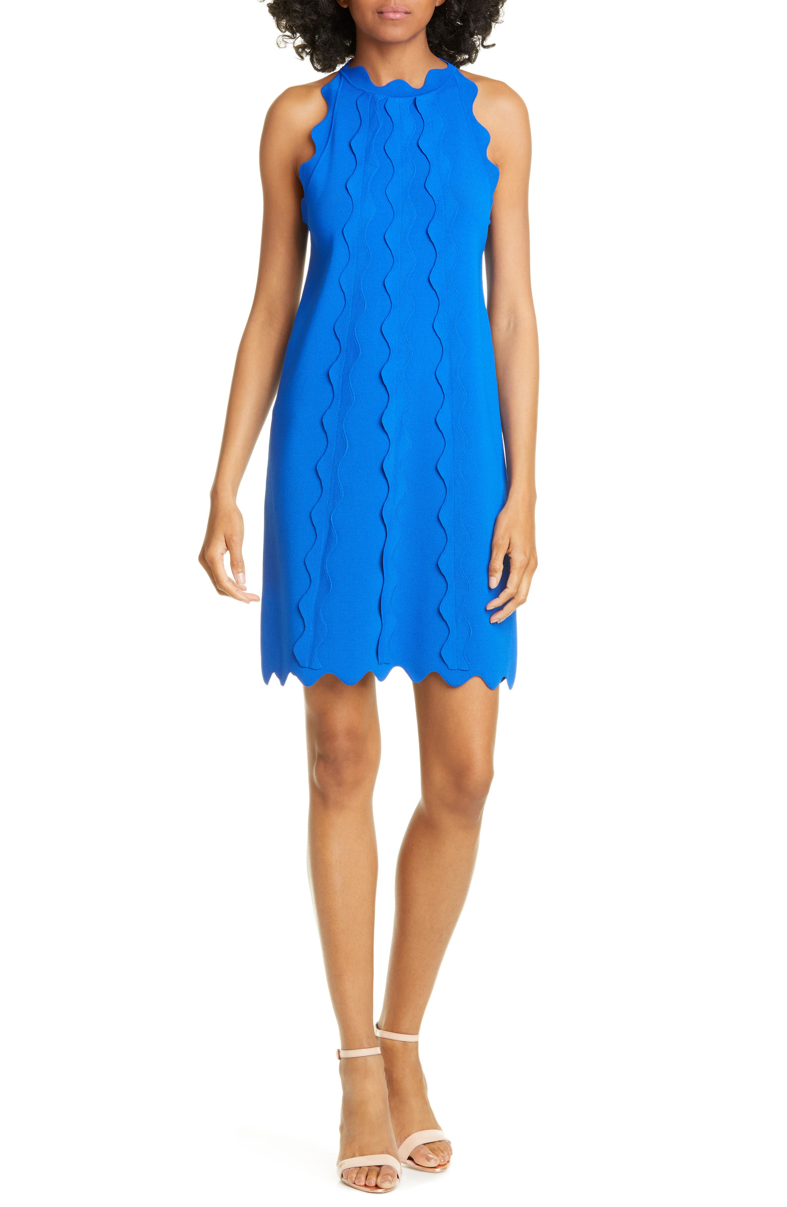 Ted Baker London Rickrack Trim Knit Shift Dress, Blue