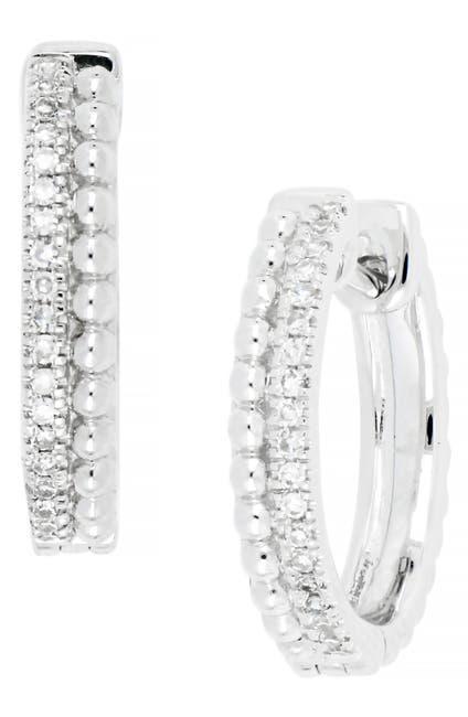Image of Carriere Sterling Silver Pave Diamond 16mm Huggie Hoop Earrings - 0.11 ctw