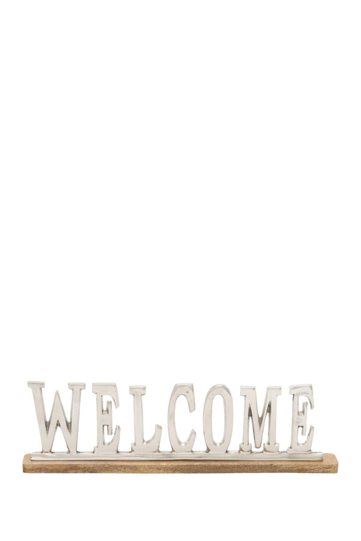 Image of Willow Row Silver Contemporary Aluminum & Mango Wood Welcome Sign